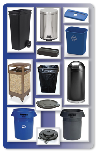 Trash Waste Cans - Recycling Bins